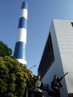 Me and Tabatha posing in front of the incinerator stack